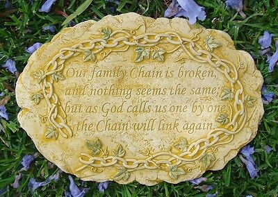 FAMILY CHAIN Memorial Wall Plaque Stone Concrete Garden Ornament Statue