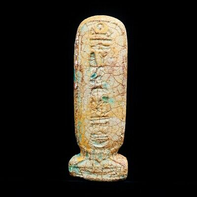 Rare Ancient Egyptian Large Faience Cartouche Amulet Figurine, 300 BC