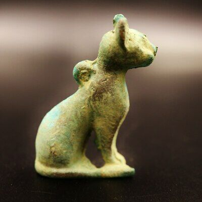 Rare UNIQUE Antique Ancient Egyptian Cat BES Bronze Statue Figure..Small