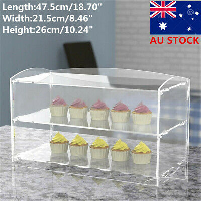 2 Layer Acrylic Bakery Pastry Display Case Stand Cabinet Cakes Donuts Cupcakes