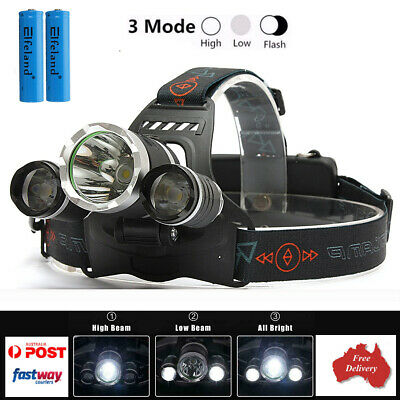 100000LM 3x T6 LED HEADLAMP HEADLIGHT HEAD TORCH FLASHLIGHT RECHARGEABLE CAMPING