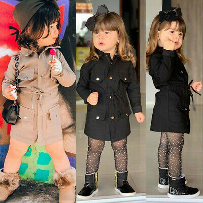 2-7Y Baby Girls Long Sleeve Trench Coat Windbreaker Jacket Outwear Kids Parka UK