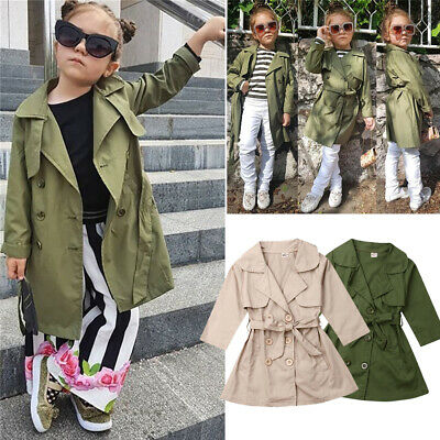 AU Kids Child Baby Girl Overcoat Trench Coat  Long  Wind Jacket Outwear Autumn