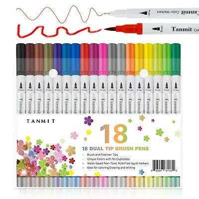 Dual Brush Pens Colored Art Marker Fine Tip Calligraphy Coloring Book 18 Colors