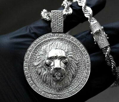 """Solid Large Round Shape Men's King of The Jungle """"LION"""" Face Pendant In 925 SS"""