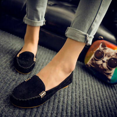 Ladies Moccasin Lazy Shoes Slip On Loafers Strappy Flat Pumps Boat Shoes UK Size