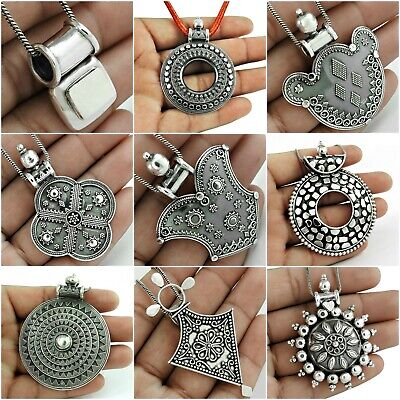 Antique Look Pendant Solid 925 Sterling Silver Oxidized Handmade Indian Jewelry