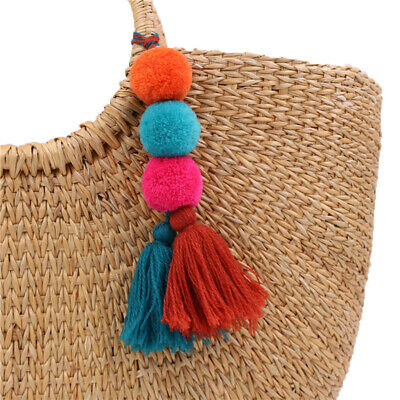 Keychain Pompom Tassel Handbag Gypsy Indian Pom Tribal Ring Boho Keyring Bag BS