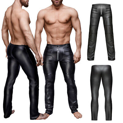 Men's Sexy Shiny Pants Wet Look Zipper Pouch Long Tight Trousers Night Clubwear