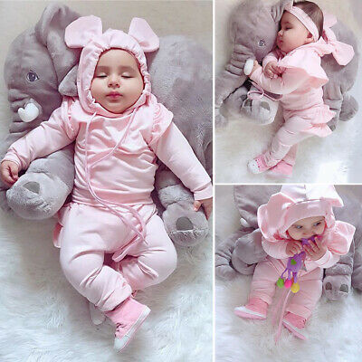 Sweet Newborn Infant Baby Girl Hoodies Shirt Tops+Long Pants Outfits Clothes Set