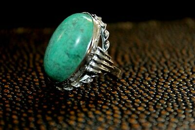 Antique Art Deco Sterling Silver Hallmark Large Turquoise Cabochon Ring Rg1