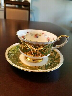 Vintage Deep Green & Gold Scroll Paragon Cup & Saucer With Floral Decoration