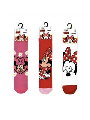 3 Girls Minnie Mouse 100% Official Cartoon Novelty Character Socks - 6-3½