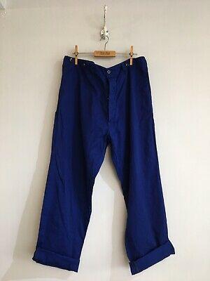 "True Vintage Blue Chinese Cotton Chore Workwear Trousers Pants W36"" Large"
