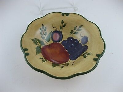 "Soup Bowl Home Trends Granada Fruit Pattern 1pc 8 1/4"" 8.25 Green Band & Trim"