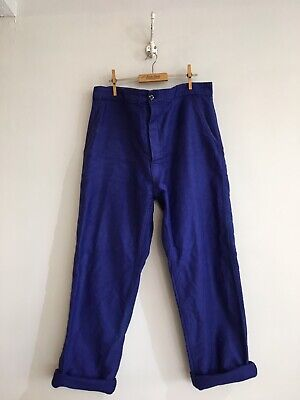 """True Vintage Blue French Cotton Chore Workwear Trousers Pants W38"""" Large"""