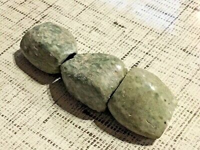 Pre-Columbian Mezcala Culture  3 Jadite Stone Beads  from Western Mexico