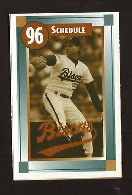 Buffalo Bisons--1996 Pocket Schedule--Camelot Music--Indians Affiliate