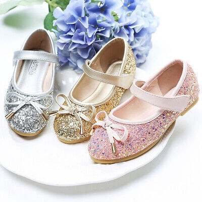 Girls Kids Bling Party Wedding Princess Shoes Toddler Glitter Sequin Dance Shoes