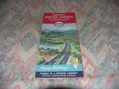 Eastern United States Happy Motoring Esso Map From The 60'S / 70'S