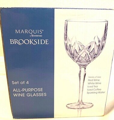 WATERFORD Brookside By MARQUIS Set of 3 Crystal Wine Glasses NEW paid $100