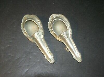 Antique 1920's Pair NIckel Plated Brass Interior Side Lights (H)
