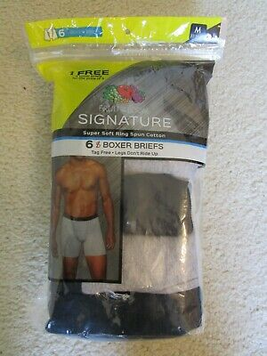 NWT ~ Men's 6 PACK FRUIT OF THE LOOM  TAGLESS BOXER BRIEFS ~ MEDIUM 32-34 ~ $36