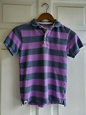 Boys MINI BODEN Purple and Gray striped Short Sleeve Polo Shirt size 9 - 10 Y