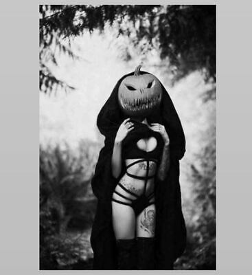 Vintage Creepy Sexy Tattoo Girl Halloween PHOTO Bikini Pumpkin Head Freak Scary