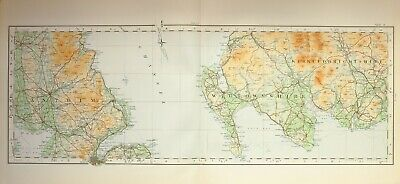 1924 Large Scottish Map Antrim Ireland Coast Wigtownshire Kirkcudbrightshire