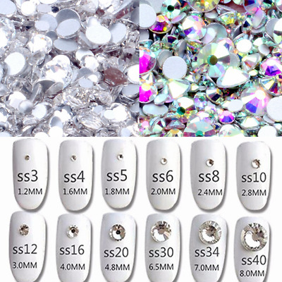 Crystal And AB Color ss3-ss60 Non Hotfix Rhinestones Flatback Glue On Stones