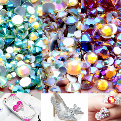 Multi-Color AB ss3-ss12 Non Hotfix Rhinestones Flatback Glue On Crystal Stones