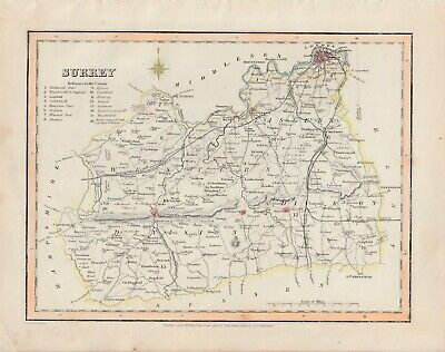An antique county map of Surrey by Richard Creighton c1844