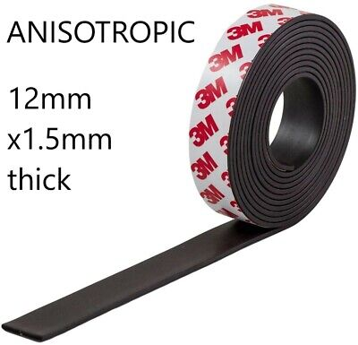 Self Adhesive Magnetic Tape with 3M backing 12mm x 1.5mm thick in chosen length