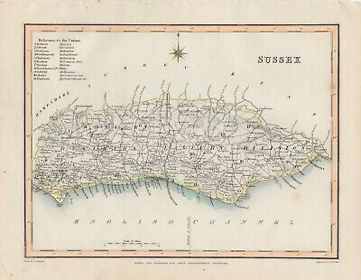 An antique county map of Sussex by Richard Creighton c1844