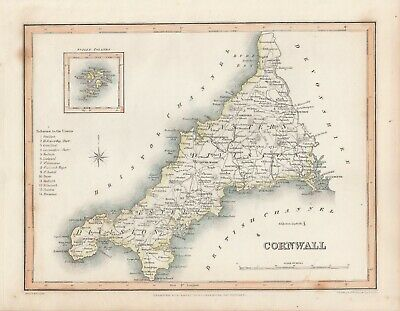 An antique county map of Cornwall by Richard Creighton c1844