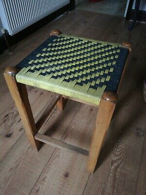 Vintage Black And Yellow Woven Stool