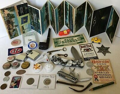 Vintage Junk Drawer Lot Knives Silver Coins Pipe Smoky Bear Popeye Oscar Mayer