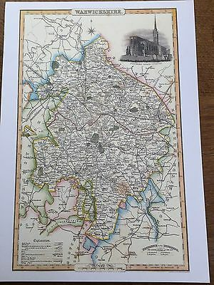 Pigot & Co County Colour Map WARWICKSHIRE 1840 Reproduction