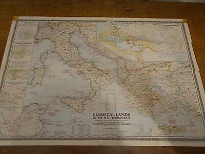 1949 fold out Wall MAP CLASSICAL LANDS OF THE MEDITERRANEAN National Geographic