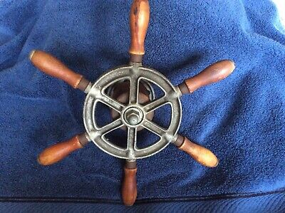 Antique Vintage Nautical Metal & Wood Ship/Boat Steering Wheel 6 Spoke Appx. 13""