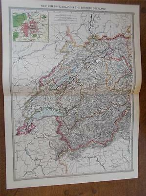 Antique c1904 colour map of WESTERN SWITZERLAND from HARMSWORTH ATLAS