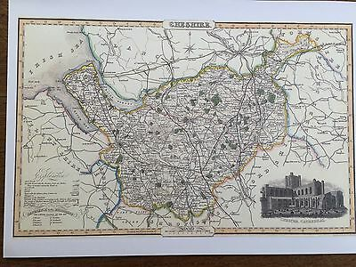 Pigot & Co County Colour Map Cheshire 1840 Reproduction