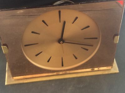 Antique Vintage Art Deco Copper Mirrored GENALEX Electric Clock Brass Base