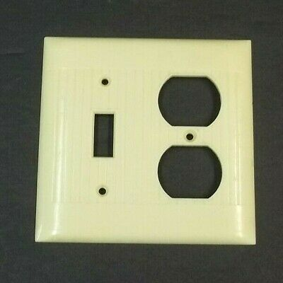Vintage Sierra Electric Cover Plate Light Switch Outlet Combo Ivory Ribbed D-18