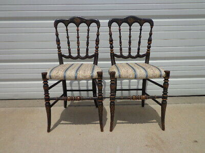 2 Antique Chiavari Chairs Italian Pair of Chairs Regency Wood Dining Chairs