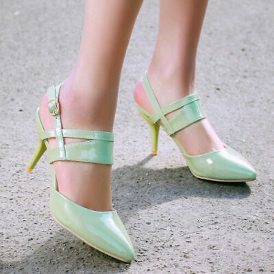 Ladies Slingbacks Women Sexy High Heel Pointy Toe Buckle Strap Party Pumps Shoes