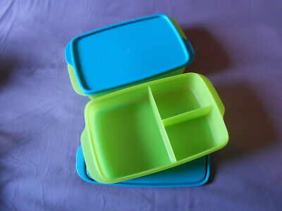 Tupperware 2 Large Lunch it divided containers bento boxes rectangular sandwich