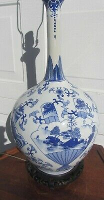 Massive Antique Chinese Bottle Vase Hand Painted Blue & White Lamp Porcelain