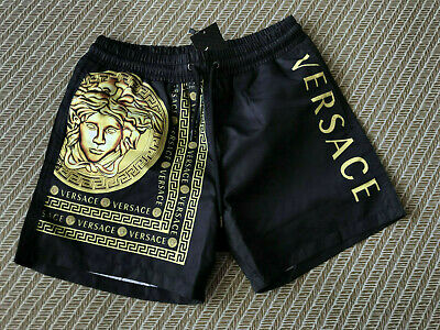 New  Versace Swimshorts Black Men's Italy Print Borocco Swim Briefs Drawstring